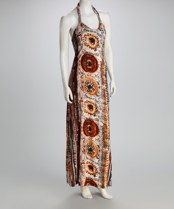 Taupe Batik Halter Maxi Dress