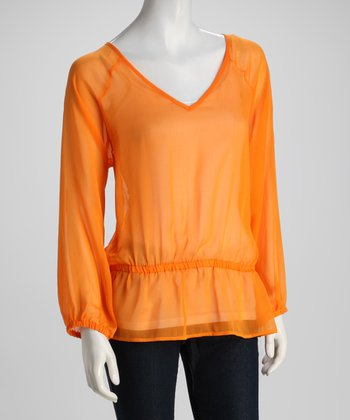Orange Drop-Waist Top