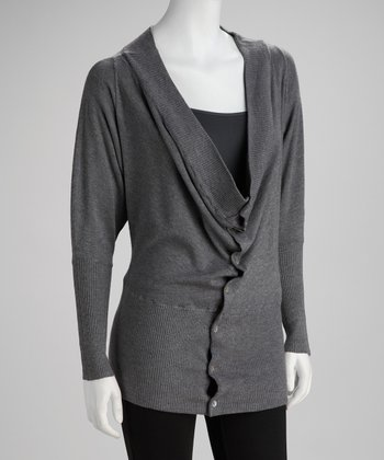 Charcoal Button-Up Sweater