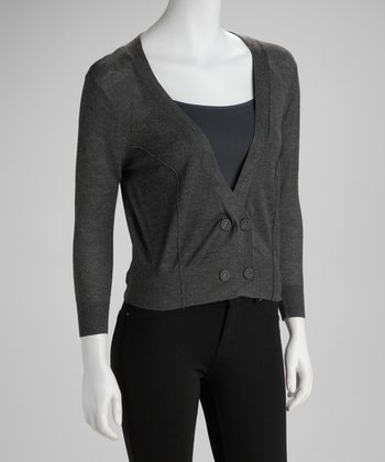 Charcoal Deep V-Neck Cardigan