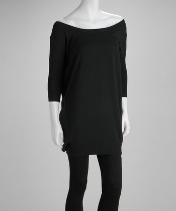 Black Boatneck Sweater Dress