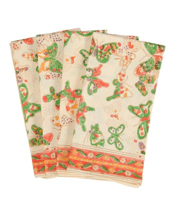 Butterfly Antique Napkin - Set of Four