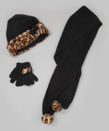 Black Leopard Scarf Set