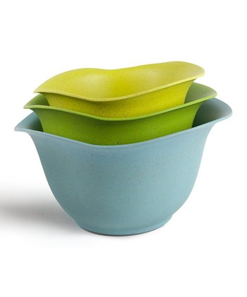 Blue & Green Bamboo & Melamine Bowl Set