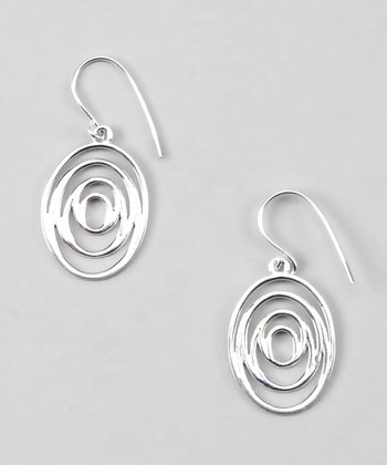 Sterling Silver Oval Spiral Drop Earrings