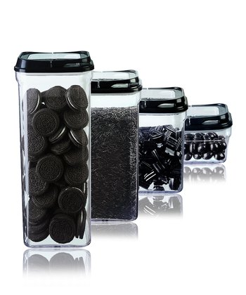 Black Four-Piece Food Storage Container Set