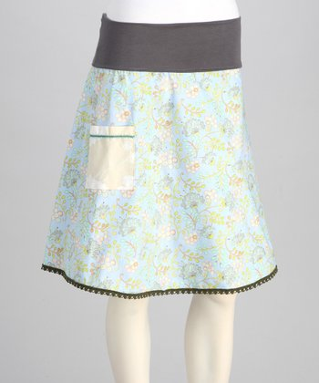 Sky Blue Floral Skirt - Women