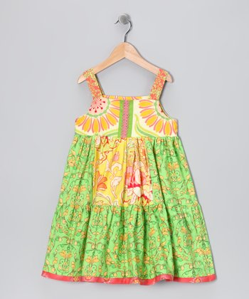 Sweet Kiwi Mixed Dress - Toddler & Girls