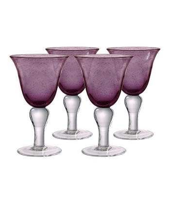 Plum Iris Wine Glass - Set of Four