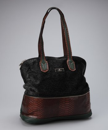 Black Faux Fur Adi Satchel