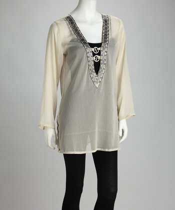 Off-White Sheer Beaded Tunic - Women