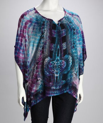Purple & Blue Plus-Size Sidetail Top