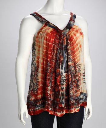 Orange Tie-Dye Plus-Size Sleeveless Top