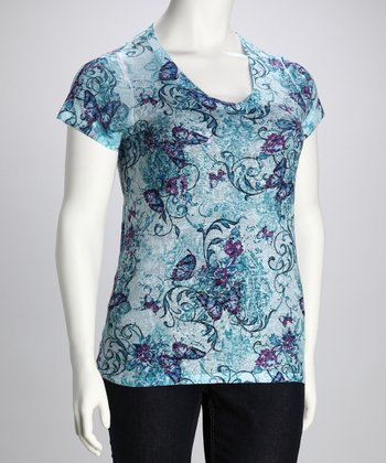 Blue Floral Plus-Size Top
