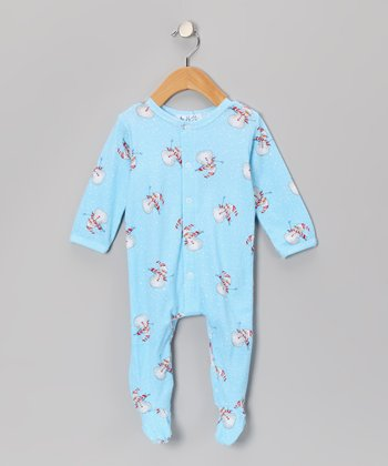 Light Blue Snowman Footie - Infant