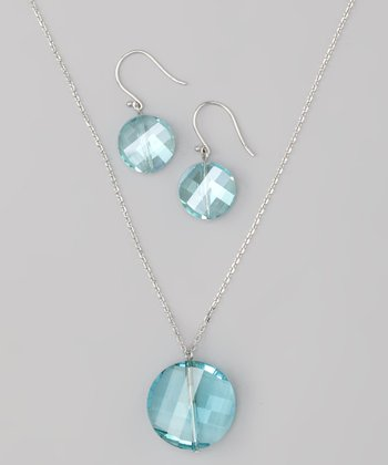 Blue Faceted Disk Pendant Necklace & Stud Earrings