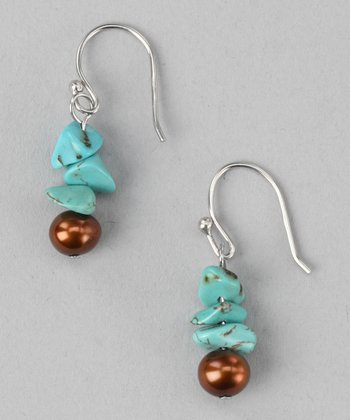 Turquoise & Brown Pearl Earrings
