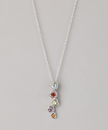 Blue & Citrus Semi-Precious Fused Heart Pendant Necklace