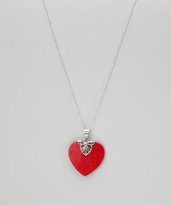 Sterling Silver & Red Shell Heart Pendant Necklace