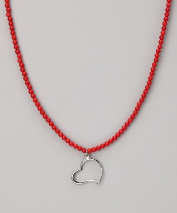 Red Coral & Sterling Silver Beaded Heart Necklace