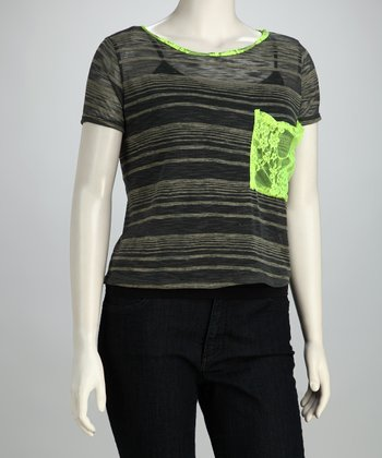 Green Stripe Pocket Top