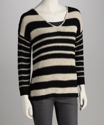 Black & Ash Blonde Stripe V-Neck Sweater
