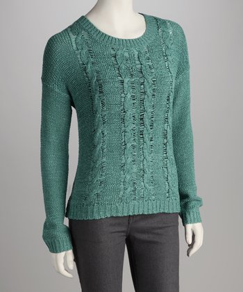 Tropical Teal Cable-Knit Stripe Sweater