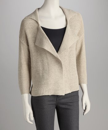 Ash Blonde Collared Open Cardigan
