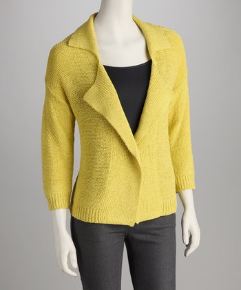 Candied Citron Collared Open Cardigan