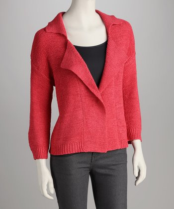 Coral Collared Open Cardigan