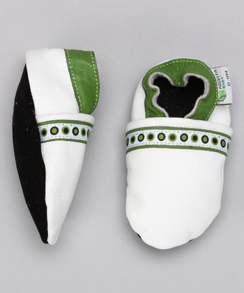 Augusta Baby White & Green Polka Dot Booties