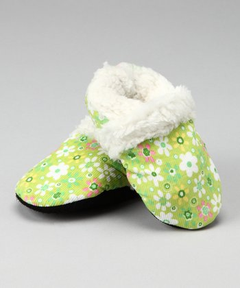 Green Faux Fur Corduroy Booties