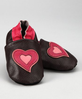 Brown & Pink Heart Booties - Infant