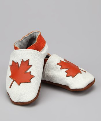 White & Orange Maple Leaf Booties