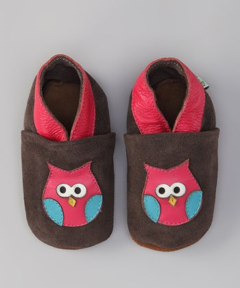 Brown & Pink Owl Booties