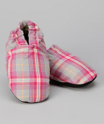 Augusta Baby Pink Plaid Booties