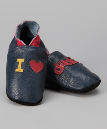 Navy 'I Love Daddy' Booties