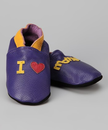 Eggplant 'I Love Mommy' Booties