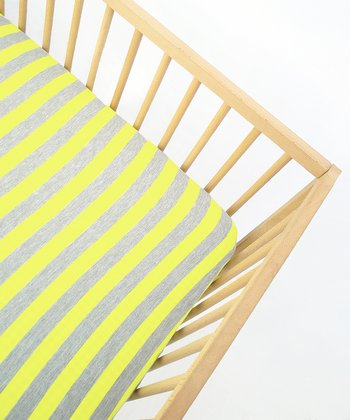 Lemon Stripes Fitted Crib Sheet