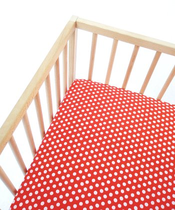 Tomato Dots Fitted Crib Sheet