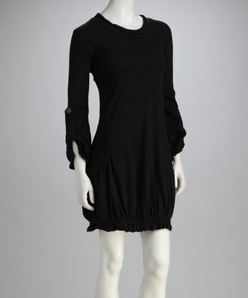 Avatar Imports Black Ruffle Pocket Dress