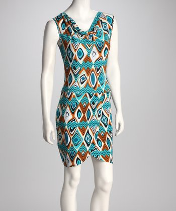 Brown & Teal Drape Neck Dress