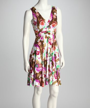Pink & Mint Floral Abstract Surplice Dress
