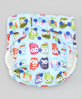 One Size Blue Owls Pocket Diaper
