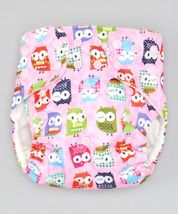One Size Pink Owls Pocket Diaper