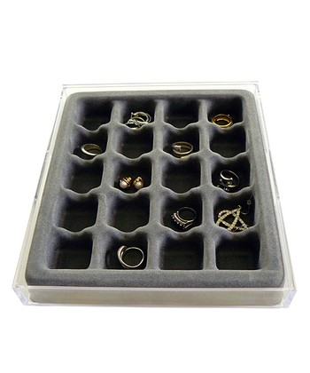 Gray Stackable 20-Compartment Earring & Ring Organizer