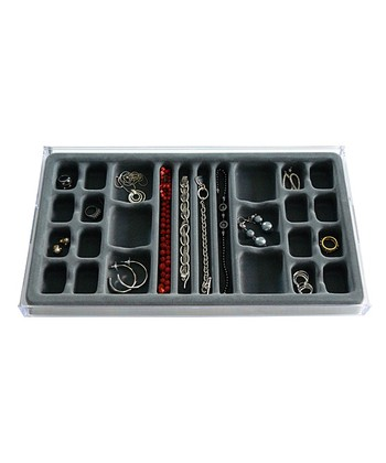 Gray Stackable 26-Compartment Jewelry Organizer