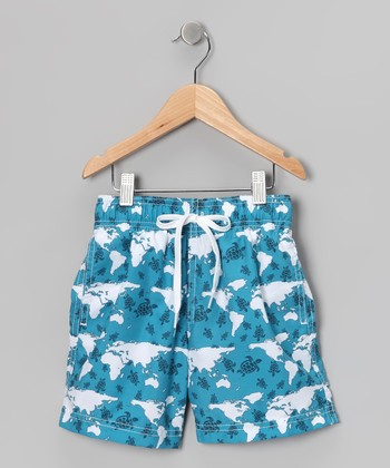 Aqua Blue Turtle World Swim Trunks - Infant, Toddler & Boys