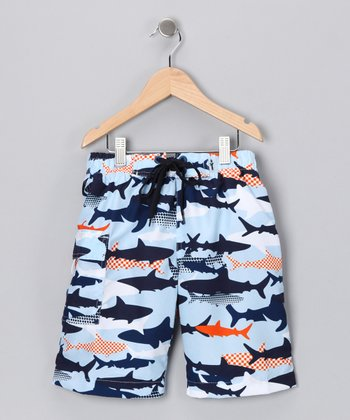 Light Blue Jaws Swim Trunks - Boys