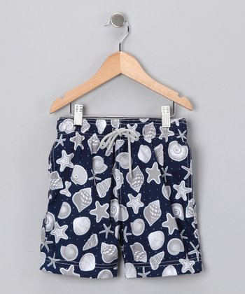 Navy Shell Swim Trunks - Infant, Toddler & Boys